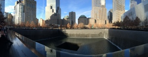 Ground Zero Memorial. Each tower is represented by a breath taking waterfall footprint where they once stood.